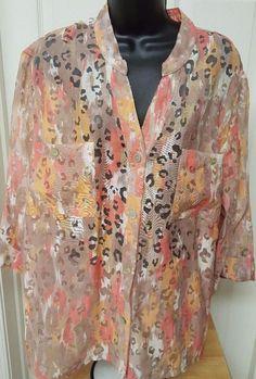 Ruby Rd. Woman's Plus Orange/Yellow/Brown/White Sheer Button Down Shirt Size 20W #RubyRd #ButtonDownShirt #Casual