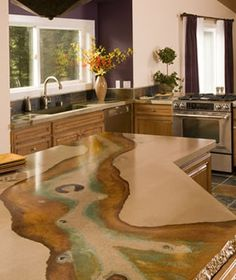 Supreme Kitchen Remodeling Choosing Your New Kitchen Countertops Ideas. Mind Blowing Kitchen Remodeling Choosing Your New Kitchen Countertops Ideas. Countertop Concrete, Cost Of Countertops, Kitchen Countertops, Cement Counter, Laminate Counter, Kitchen Appliances, Bungalows, Acid Wash Concrete, Acid Stained Concrete Floors