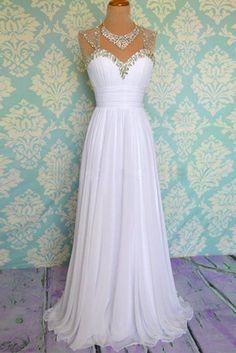 Sleeveless Evening Dress,Sexy Chiffon Evening Dresses,Long Prom Dresses,Formal