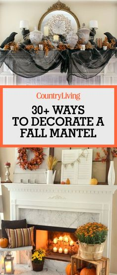 Save these fall mantel decoration ideas by pinning this image and… Fall Harvest Decorations, Fall Mantel Decorations, Seasonal Decor, Mantel Ideas, Mantels Decor, Halloween Decorations, Christmas Decorations, Table Decorations, Halloween Mantel