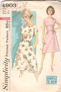Simplicity 4903 1960s Simple to Sew Misses Dart Fitted by mbchills