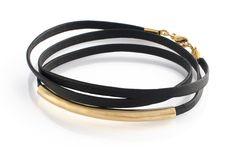 Brika black leather wrap bracelet