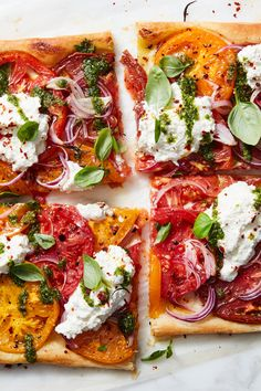 Roasted Tomato Tart With Ricotta and Pesto Recipe - NYT Cooking Summer Recipes, New Recipes, Cooking Recipes, Veggie Recipes, Fall Recipes, Favorite Recipes, Falafels, Bagels, Quiches
