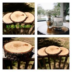 These beautiful wood slices are preserved and are perfect for rustic wedding centerpieces! Wood Centerpieces, Rustic Wedding Centerpieces, Wedding Decorations, Rustic Chic, Rustic Wood, Large Wood Slices, Tree Slices, Buy Wood, Firewood