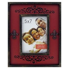 "Green Tree Gallery 5"" x 7"" Red & Black Photo Frame with Fleur-De-Lis 