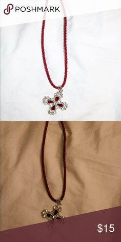 Red cross & rope necklace Ruby Jewelry Necklaces