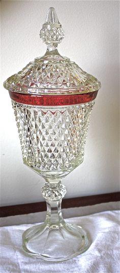 Indiana glass ruby flash candy jar- Ruby Flash-Vintage Candy jar-lidded candy dish-depression glass candy jar