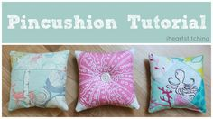 Easy Pincushion Tutorial with several different methods.  Using scraps and improv sewing, button and crushed walnut shells and poly fil to stuff!