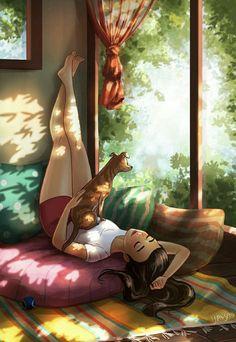 Togetherness - Sun, an art print by Yaoyao Ma Van As Girly Drawings, Art Drawings Sketches, Girl Cartoon, Cartoon Art, Comics Und Cartoons, Alone Art, Digital Art Girl, Girl And Dog, Anime Scenery
