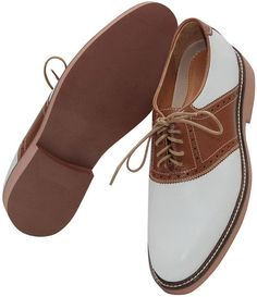 Oxford white and tan saddle shoes by Crick and Watson.