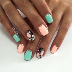 Butterfly nail art, Gentle half moon nails, Half-moon nails ideas, June nails, Manicure by summer dress, May nails, Moon nails by gel polish, Shellac half moon nails