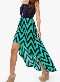 Mint & Navy Chevron Hi/lo Dress,  Dress, chevron dress, Chic Wish this was full length maxi and had straps....might need to try and make myself!