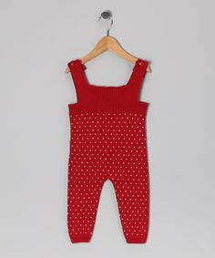 Red Alex Knit Overalls - Infant
