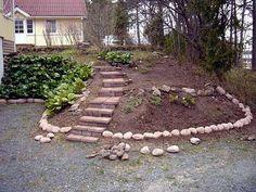 5. Luonnonkiviä voidaan käyttää myös nauhamaisesti eri pihapintojen rajaukseen.