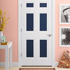 Make door panels pop by adding an accent color. Find out how in this easy tutorial from //Great idea for paneled doors. Love it, but I wouldn't be able to sell my home if I did this in THIS house. But that's okay, maybe for the next home. Barn Door In House, White Doors, Bedroom Doors, Interior Barn Doors, Painted Doors, Accent Colors, Innovation Design, Colorful Interiors, Decorating Tips