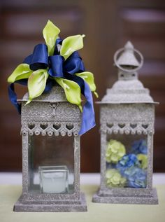 Lantern Centerpieces | Afloral Blue and Green Wedding Design Ideas Love the shades and the pieces themselves. But mostly the color :P