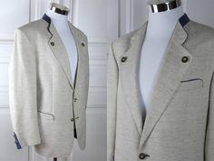 German Vintage Trachten Jacket, Cream Colored w Blue Piping Wool-Linen Blend Blazer, Bavarian Octoberfest Jacket: Size 42 (US/UK) by YouLookAmazing on Etsy