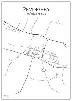 Revingeby. Skåne. Sverige. Karta. City print. Print. Affisch. Tavla. Tryck.