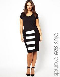 a2486acb2df Image 1 of Carmakoma Stripe Panelled Tube Skirt Fat Girl Fashion