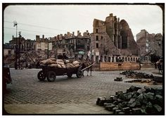 During World War II of Warsaw was destroyed. Dramatic snaps in colour show the centre of the city, including Śródmieście, Old Town and m. Warsaw Old Town, Warsaw City, Jewish Ghetto, Germany Poland, New York Photographers, Ppr, Vintage Photographs, World War Two, Color Show