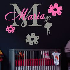Wall Decal Personalized Name Monogram Fairy Girl Nursery Vinyl Sticker MA70