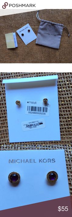 """NWT Michael Kors Purple Goldtone Stud Earrings Michael Kors Gold Tone Logo Earrings with Purple Mother of Pearl Stones Style #:MKJ5931 Sleek and chic, these gold-tone-and-eggplant mother-of-pearl Michael Kors logo stud earrings add the perfect pop of color to any outfit. Origin Imported Material: Stainless Steel, Mother-of-Pearl/Abalone Finish Polished Measurements 0.5"""" Width Closure Post  Retails $75.00 Includes Dust bag Michael Kors Jewelry Earrings"""