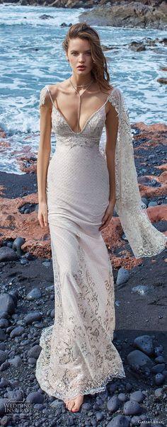 galia lahav gala 2018 bridal sleeveless thin strap v neck heavily embellished bodice elegant sheath wedding dress low scoop back sweep train (14) lv -- Gala by Galia Lahav Collection No. 5 Wedding Dresses