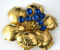 Blue Rhinestones Flower Brooch Pin 1940s Gold Pin Vintage Costume via Etsy