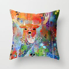 Square Deer Pillow, Colorful Deer Pillow, Deer Decor, Woodland Deer, Red Couch Pillow, Red Square Pillow, Square Pillow, Deer Art, Deer