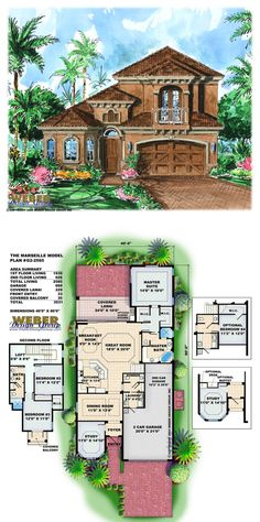 G2-2565 - Marseille House Plan - Mediterranean style 2-story 2,565 square feet of living area.  4 bedrooms, 2 and 1/2 bath, 3 car garage.