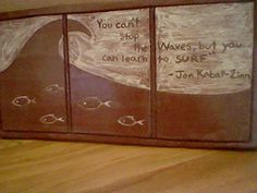 """tile with quote by surfer Jon-Kabat Zinn : """"You can't stop the waves, but you can learn to surf."""""""