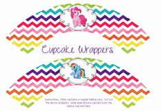 INSTANT DOWNLOAD- My Little Pony Rainbow Cupcake Wrappers (My Little Pony Party Pack)