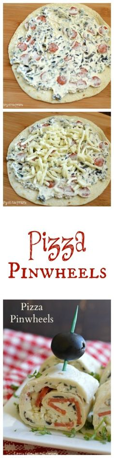 Pizza Pinwheels are everything you already love about pizza rolled up in a cute little bite! They make a fun appetizer, snack or addition to your lunchbox! | Little Dairy on the Prairie