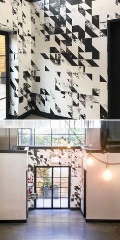 Disintegration by Merenda Wallpaper at Dobbin Street, Brooklyn Accent Wallpaper, More Wallpaper, Wall Installation, New Artists, Designer Wallpaper, Your Space, Brooklyn, Photo Wall, Living Room