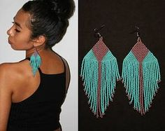 Purple Turquoise Native American Beaded Earrings, Large Dangle Seed Bead Earrings, Huichol Earrings, Tribal Fashion Statement Earrings