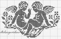 Free angels grid, be lovely in the russet reds DMC do. Stitch And Angel, Cross Stitch Angels, Cross Stitch Tree, Cross Stitch Charts, Cross Stitch Designs, Cross Stitch Patterns, Filet Crochet, Crochet Cross, Crochet Chart