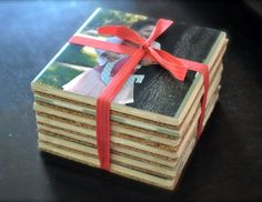 Cute personalized gift coasters made with Mod Podge and photos.
