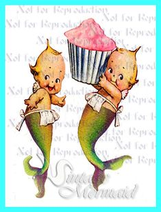 s557 VINTAGE MERMAID KEWPIES Merbabies by wwwvintagemermaidcom, $7.00