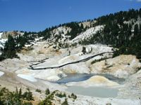 Lassen Volcanic National Park -  (Northeast CA, aprox 50 miles east of Redding) Bumpass Hell Trail - Round Trip Distance: 3 miles Time: 2 hours Terrain: easy 300 foot descent Elevation: 8000 feet