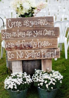 Our wedding topic today is rustic wedding signs.Why we use wedding signs in our weddings? Awesome wedding signs are great wedding decor for wedding ceremony and reception, at the same time, they will also serve many . Barn Wedding Decorations, Rustic Wedding Signs, Wedding Country, Wedding Signage, Rustic Bohemian Wedding, Rustic Wedding Reception, Wedding Sign In Ideas, Wedding Ideas Using Pallets, Country Themed Weddings
