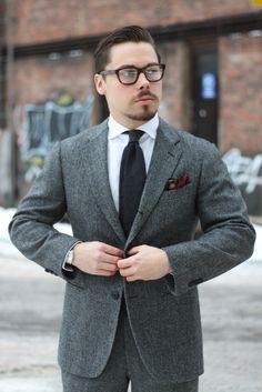 gray-herringbone-wool-suit-with-white-oxford-shirt