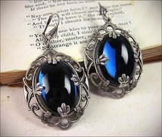 Royal Blue Renaissance Earrings Tudor Jewelry Gothic by AfterDark