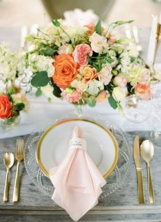 peach, pink, white, orange, gold tablesetting for wedding