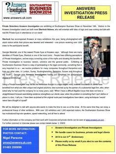 #PressRelease: #Sherlock & The Private Eyes at Southampton Business Show http://www.answers.uk.com/services/southamptonbusinessshow2014.htm T:02380 308274 For editorial contact:  01483 200999
