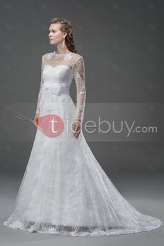 スイートハートロング袖コートのちょう結びウェディングドレス