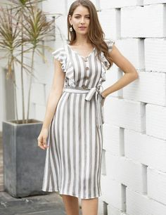 To find out about the Striped Ruffle Trim Self Tie A-line Dress at SHEIN, part of our latest Dresses ready to shop online today! Belted Dress, Ruffle Dress, Striped Dress, Ruffle Trim, Strapless Dress, Simple Dresses, Cute Dresses, Casual Dresses, Work Dresses