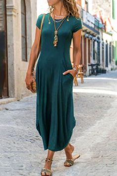Maxi Dress With Sleeves, Short Sleeve Dresses, Stylish Summer Outfits, Casual Dresses For Women, Casual Clothes, Neue Trends, Summer Dresses, Maxi Dresses, Buy Dress