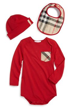 Free shipping and returns on Burberry Bodysuit, Hat & Bib (Baby Boys) at Nordstrom.com. A merry cotton bodysuit sports an iconic check pocket and comes with a matching bib and hat.