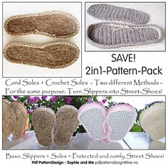 Ravelry: E-Book - 2in1-Pattern for Cord-Soles and Crochet-Soles: Two different Methods to make solid soles for your Slippers! - patterns