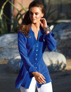 MADELEINE - Hemd. Reine Seide in der Farbe royal